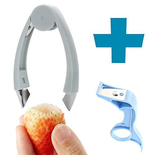 ChirRay Strawberry Huller Tomato Stem Remover Pineapple Seeding Corer and Apple Planer Pear Peeler for Women Children