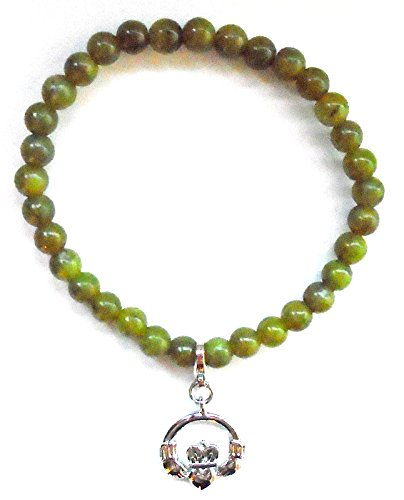 Bracelet Beaded Irish (Irish Connemara Marble: Beaded with Sterling Claddagh Charm Bracelet)