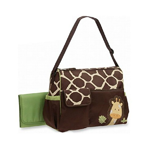 - Cartoon Shoulder Multifunction Duffle Diaper Tote Bags Giraffe Print Big Size (Green)