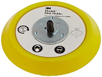 "3M Hookit Disc Pad Holder 18444, 5"" Diameter x 3/4"" Thick, Yellow (Pack of 1)"