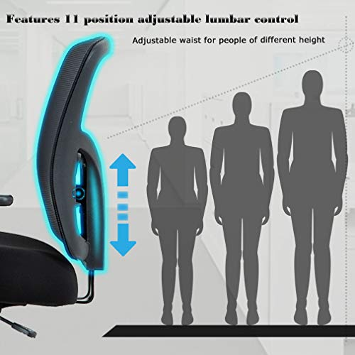 Big and Tall Office Chair Mesh Chair Computer Ergonomic Chair 400lbs Wide Seat Executive Desk Task Rolling Swivel Chair with Lumbar Support Adjustable Arms by BestMassage (Image #5)