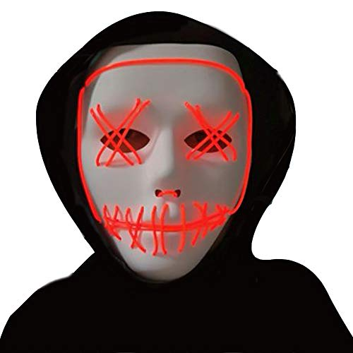 (Halloween Mask,LED Masks Glow Scary Mask Light Up Cosplay Mask Rave Mask for Festival Music Party Parties Costume Christmas (Red for LED)