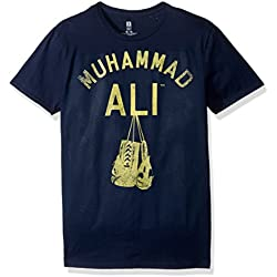 Muhammad Ali Men's Hanging up the Gloves Short Sleeve T-Shirt, Navy, X-Large
