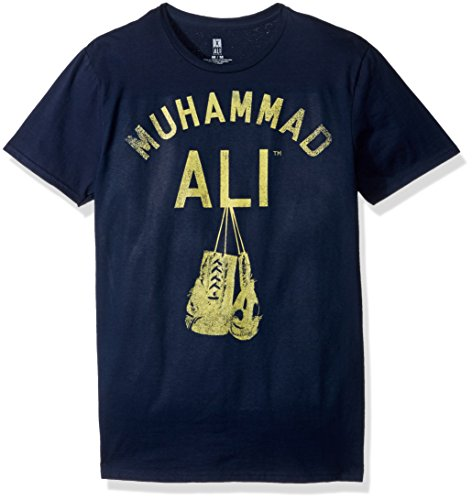 Muhammad Ali Men's Hanging up The Gloves Short Sleeve T-Shirt, Navy, 2XL