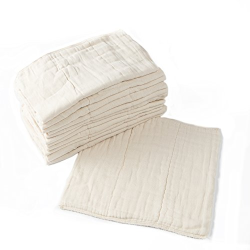 Prefold Cloth Diapers - 12-Pack - Unbleached Premium Cotton, Pre-Washed, Fits Newborn Babies to Toddlers (10-30 lbs), Multi-Use -