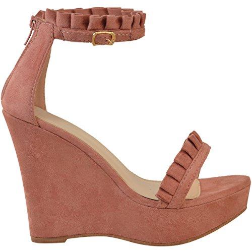 Fashion Thirsty heelberry Mujer Zapatos Tacón Alto Volante Tira EN Tobillo Plataformas Sandalias Tamaño de Verano Rosa Pastel Ante Artificial