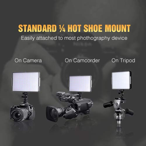 (360 LED Video Light Panel, Dimmable Camera Camcorder Video Light, 3200K-5600K Portable Photography Lighting with 4400mAh Battery and Charger for Canon, Nikon, Pentax, Sony and Olympus DSLR)