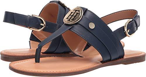 Tommy Hilfiger Women's Lychee Navy 9.5 M US (Tommy Hilfiger Navy Blue Sandals)