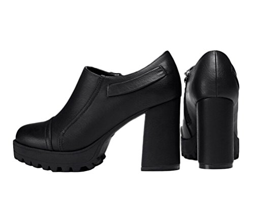 Women Fashion Chunky High Heel Shoes Elegant Low Top Side Zipper Leather Shoes Black FDR7wVkM