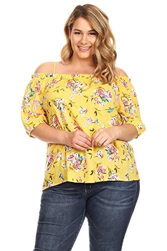 - Women's Junior Plus Size Cold Shoulder Floral Print Bubble Sleeve Top Yellow 1X