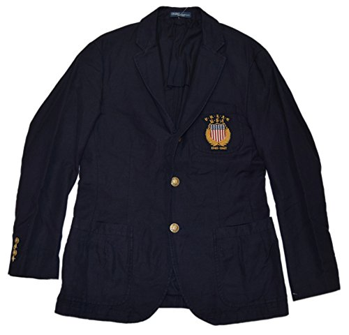 Ralph Lauren Polo Mens Linen Cotton USA Blazer Sport Coat Jacket Navy Brass -