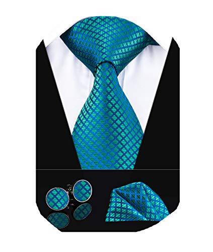 Necktie Set Handkerchief - Dubulle Mens Blue and Green Tie with Handkerchief Wedding Necktie and Pocket Square Cufflinks Set