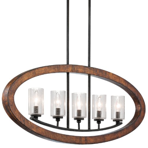 (Kichler 43186AUB Grand Bank Linear Chandelier 5-Light, Auburn Stained Finish )