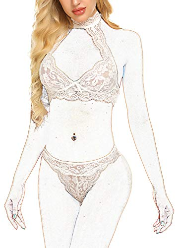 ADOME Women Lingerie Set Lace Teddy Babydoll Bra and Panty Set Halter Bralette Sets White XL (Doll Lingerie Baby Panty)