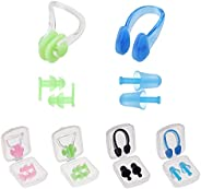Silicone Swimming Earplugs Swimmer Nose Clip Plugs for Adults Kids, Ear & Nose Protector Swimming Set, Wat