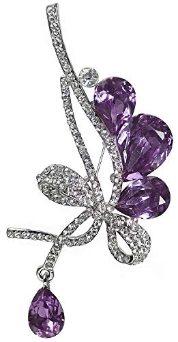 Bijoux De Ja Rhodium-Plated Base Rhinestone Crystal Ribbon Bow Brooch Pin (Purple)