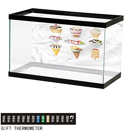 bybyhome Fish Tank Backdrop Ice Cream,Tasty Desserts with Syrup,Aquarium Background,30