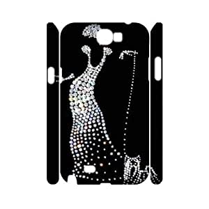Silver Bling Custom 3D Cover Case for Samsung Galaxy Note 2 N7100,diy phone case ygtg593318