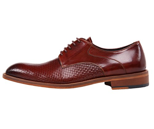 Asher Green Mens Genuine Woven Buffalo Leather Oxford, Lace Up Dress Shoe, Wood-Like Sole, Style AG210 Burgundy