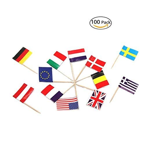 National Flag Picks Flag Toothpicks Cocktail Sticks Cupcake Toppers, Random Country, 100 Count