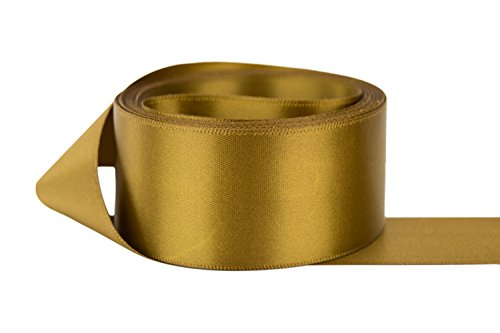 Ribbon Bazaar Double Faced Satin 1-1/2 inch Antique Gold 50 Yards 100% Polyester Ribbon