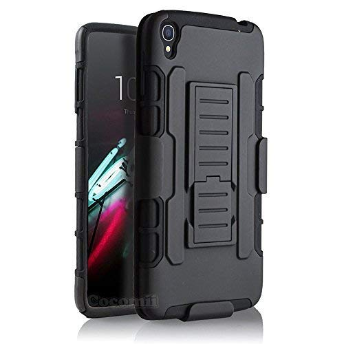 Cocomii Robot Armor Alcatel OneTouch Idol 3 5.5in Case New [Heavy Duty] Belt Clip Holster Kickstand Shockproof Bumper [Military Defender] Full Body Cover for Alcatel OneTouch Idol 3 5.5in (R.Black)