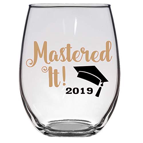 Mastered It 2019 Masters Graduation Wine Glass, Large 21 OZ, MBA MS, Graduation (Best Wine Glasses 2019)