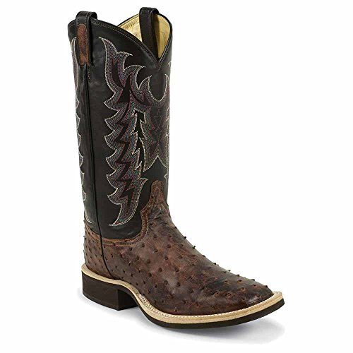 Tony Lama Men's Vintage Full Quill Ostrich Crepe Cowboy Boot Wide Square Toe Almond 10.5 D(M) US