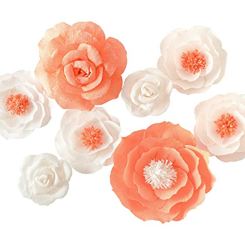 Memory Journey Giant Paper Flowers(Set of 8) Paper Flower Handcrafted,Nursery Decor - Baby Shower Backdrop - Wedding Backdrop - Ceremony Backdrop - Wedding Reception Backdrop