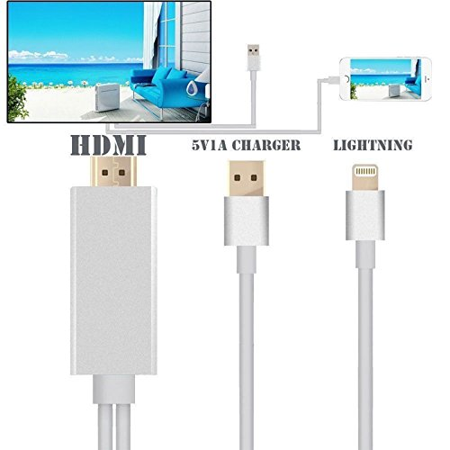Lightning to HDMI Adapter, Lightning Digital AV to HDMI 1080P Cable Adapter Connector for iPhone 7 7 Plus 6s 6s Plus 6 6 Plus 5 5c 5s SE, iPad Air/Mini/Pro, iPod Touch 5th/6th MHL plug and play Silver by Pin Yuan (Image #1)