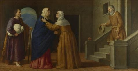 French Jacket Kiss (Perfect Effect Canvas ,the High Resolution Art Decorative Prints On Canvas Of Oil Painting 'French Or North Italian - The Visitation,about 1630', 20x39 Inch / 51x98 Cm Is Best For Bathroom Decoration And Home Gallery Art And Gifts)