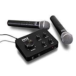 Pyle Portable Home Theater Karaoke Microphone Mixer System Set W Dual Uhf Wireless Mic, Hdmi & Aux, Audio Play Via Device Speaker & Works With Tv, Receiver, Amplifier, Speaker & More - Pdwmkhrd22wm