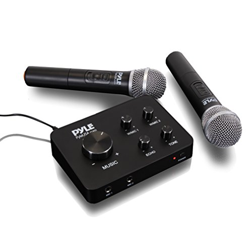 Portable Video Mixer - Pyle Portable Home Theater Karaoke Microphone Mixer System Set w/ Dual UHF Wireless Mic, HDMI & AUX, Audio Play via Device Speaker & Works with TV, Receiver, Amplifier, Speaker & More - PDWMKHRD22WM