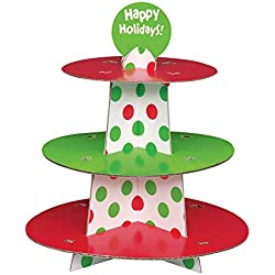 Red & Green Polka Dot Christmas Cupcake Stand