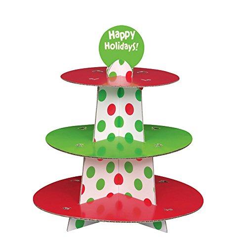Green Polka Christmas Cupcake Stand