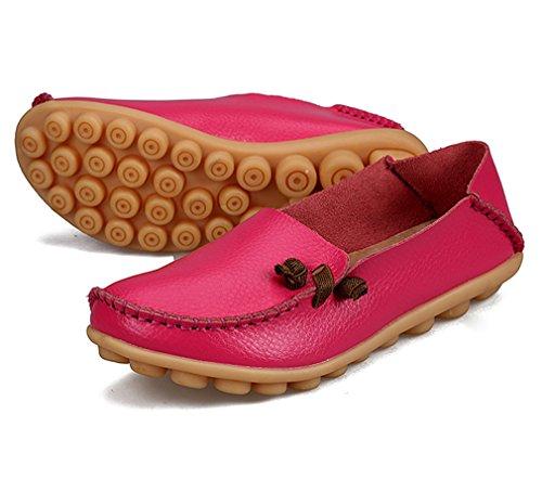 mujeres sólido de Mocasines de ocasionales de conducción cuero Zapatos Zapato Rose genuino barco de de mujer 7 Mujer Red madre de Pisos la Calzado axqRfxAw