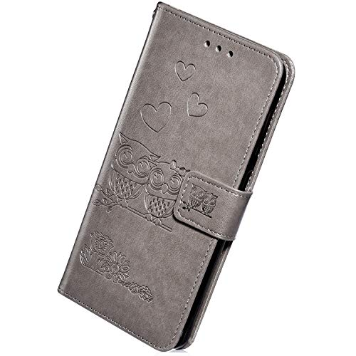 - Herbests Compatible with Samsung Galaxy S8 Leather Flip Wallet Case Retro Vintage Owl Love Heart Floral Pattern Protective Phone Case Credit Cards Slots Kickstand Magnetic,Gray