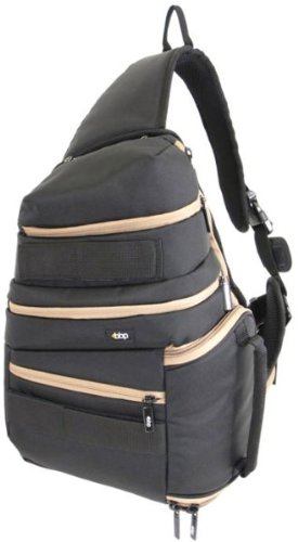 BBP DSLR Sling Bag Black/Tan with iPad Slot and RAIN COVER, Also comes in Black/Red for you Canon fans