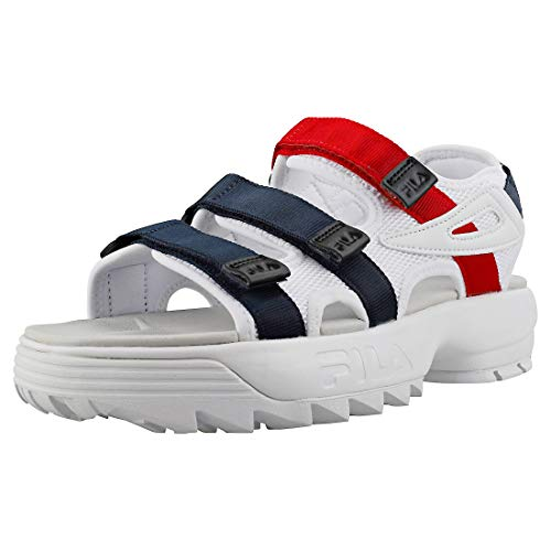 Fila Disruptor Sandal Womens Fashion Sandals in White Navy Red - 9 UK
