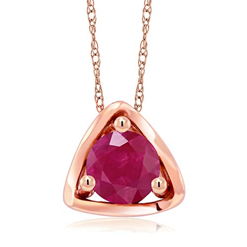 Gem Stone King 10K Rose Gold 0.55 Ct Round Red Ruby Pendant with Chain (Pink Ruby Gold Rose)