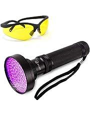 Thigles UV Flashlight Black Light with UV Sunglasses, 100 LED 395nm Ultraviolet Blacklight, Handheld Detector for Dog Cat Urine, Pet Dry Stains, Bed Bug, Dangerous Leaks and Scorpion