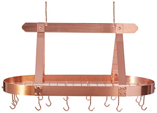 (Old Dutch Oval Steel Pot Rack w. Grid & 16 Hooks, Satin Copper, 36