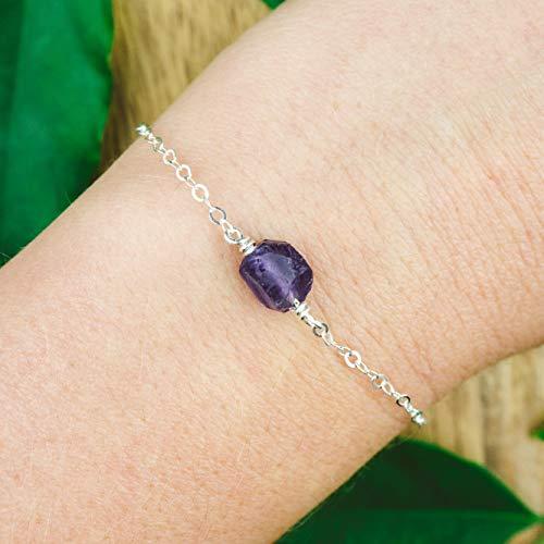 Raw amethyst crystal bracelet in 925 sterling silver - 6