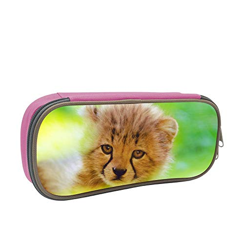 - Cute Cheetah cub face Pencil case Pen Bag Makeup Pouch Student Large Capacity Zipper Multifunction Pink
