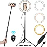 "10"" Selfie Ring Light with Tripod Stand & Cell Phone Holder for Live Stream/Makeup 