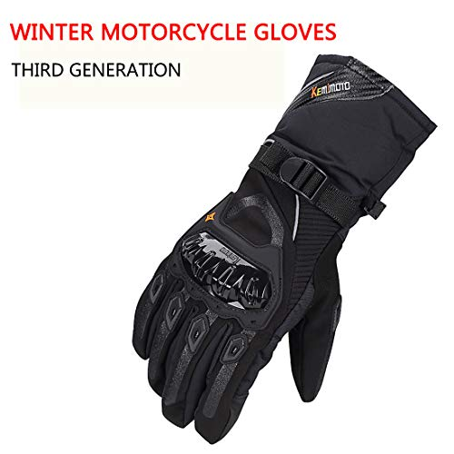 (KEMiMOTO Motorcycle Gloves Winter Touchscreen Waterproof Riding Gloves Updated Version Four-layer Structure (XL)