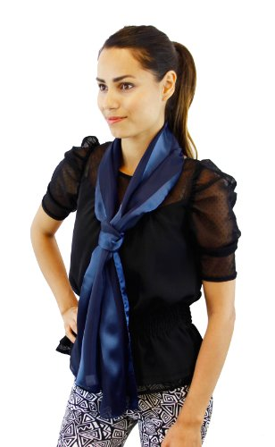 """SALE Satin Elegant Solid Long Scarf 13"""" x 60"""", Assorted Colors Satin Scarf Colors: Navy Blue"""