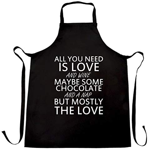 All You Need Chefs Apron Love, Wine, Chocolate, A Nap Black One Size