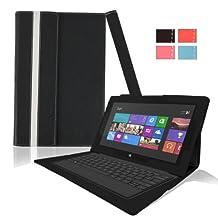 KHOMO ® Black Leather Case For Microsoft Surface Pro & Pro 2 Windows 8 tablet
