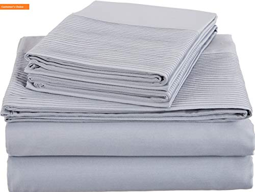 Mikash New Soft Pinzon 400-Thread-Count Egyptian Cotton Sateen Pleated Hem Sheet Set - King, Dusty Blue | Style 84599623